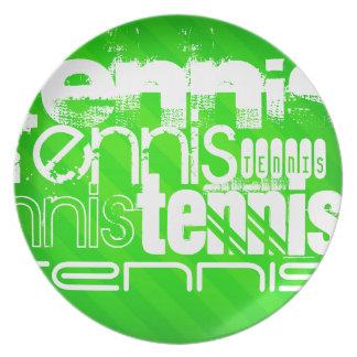 Tennis; Gröna Stripes. för neon Tallrik