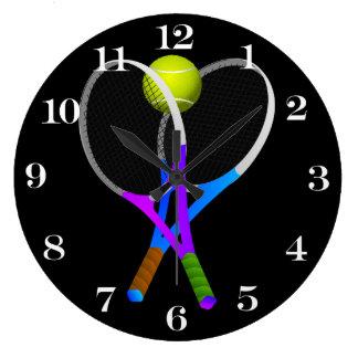 Tennisboll och racket stor klocka