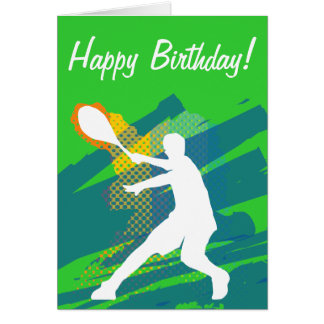 Tennisfödelsedagkort med silhouetten av spelare hälsningskort