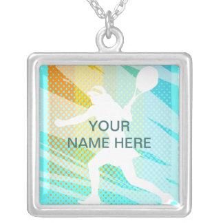 Tennissmycken - personlighalsband - tillfoga namn silverpläterat halsband