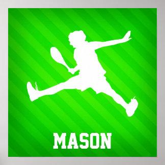 Tennisspelare; Neongröntrandar Poster