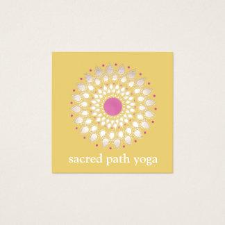 Terapeut för hälsa för exotisk lotusblommagult fyrkantigt visitkort