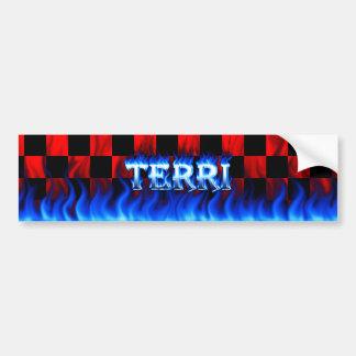 Terri blått avfyrar och flammar bildekaldesign bildekal