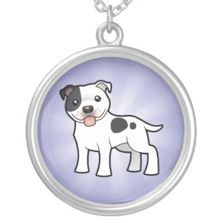 Terrier för tecknadStaffordshire tjur Silverpläterat Halsband