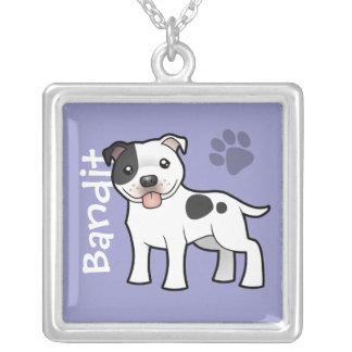 Terrier för tecknadStaffordshire tjur (tillfoga Silverpläterat Halsband