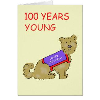 Terrierhund 100 år barn, 100. Birthday. Hälsningskort