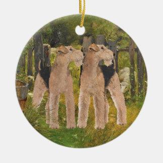 Terriers på lantgården julgransprydnad keramik
