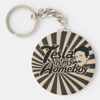 Tesla är min Homeboy Rund Nyckelring