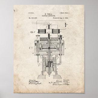 Tesla elektriskt generatorpatent - gammal Look Poster