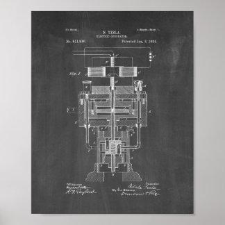 Tesla elektriskt generatorpatent - svart tavla poster