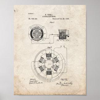 Tesla som växlar det motoriska patent - gammal poster