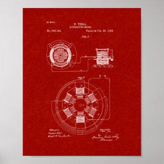 Tesla som växlar det motoriska patent - röda poster