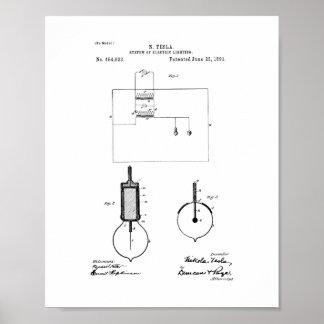 Tesla system av det elektriska belysningpatent poster