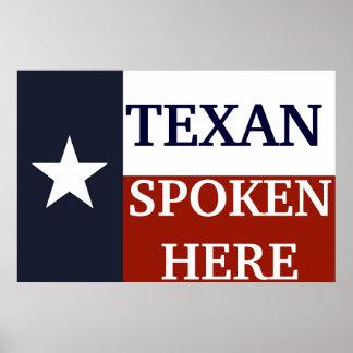 Texan som här talas poster