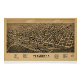 Texarkana 1888 antika panorama- karta poster