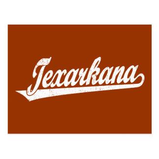 Texarkana skrivar logotypen i bedrövad vit vykort