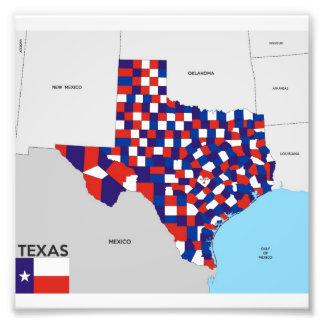 texas formar den statliga politiska kartan flagga  fototryck