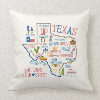 Texas kudder den statliga Landmarksillustrationen Prydnadskudde