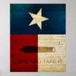 Texas som är statlig med den Alamo flagga Affisch