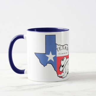 Texas statlig karta med stjärnan, kängor, keramisk mugg