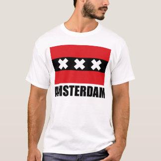 Text för Amsterdam flaggasvart Tee