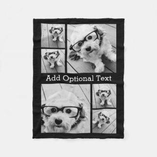Text för Collage för 6 foto valfri -- KAN redigera Fleecefilt