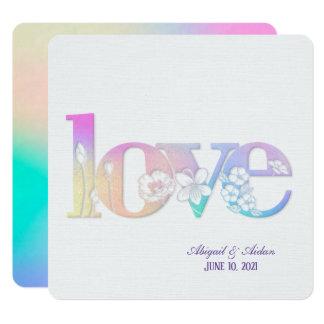 text för kärlek för regnbågebröllop blom- på vit fyrkantigt 13,3 cm inbjudningskort