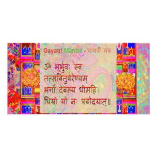 Text för Mantra för Om-Mantra n Gayatri Sanskrit Fotokort