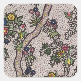Textildesignen av växten bildar och den slingra fyrkantigt klistermärke