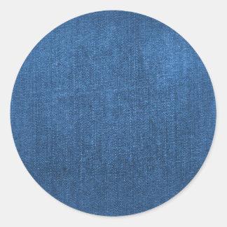 Texturerad bakgrund för blåttDenim tyg Runt Klistermärke