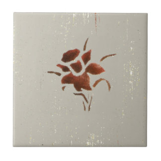 texturerad blomma liten kakelplatta