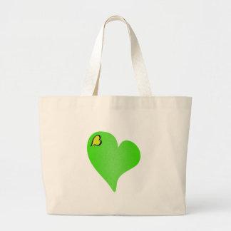 Texturerad grön hjärta jumbo tygkasse