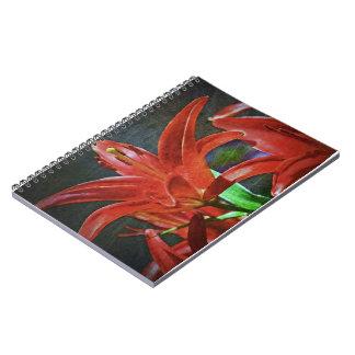 Texturerad röd lilja anteckningsbok
