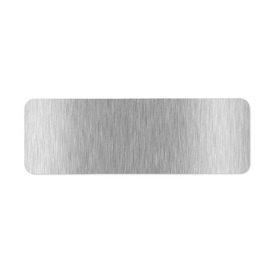 Texturerad rostfritt stål returadress etikett