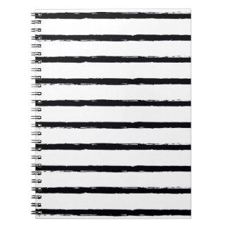 Texturerat för vitbuse för randar svart mönster spiral anteckningsböcker