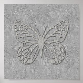 Texturerat gulligt silke för silvergrå färgfjäril poster