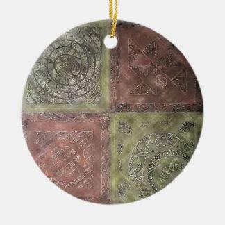 Texturerat kvadrerar julgransprydnad keramik