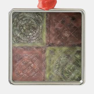 Texturerat kvadrerar julgransprydnad metall
