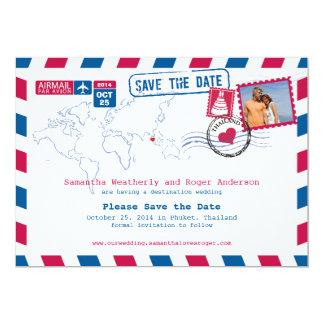 Thailand flygpost bröllop spara datum 12,7 x 17,8 cm inbjudningskort