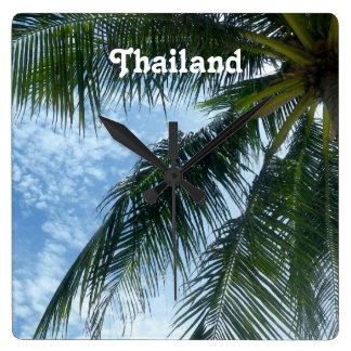 Thailand palmträd fyrkantig klocka