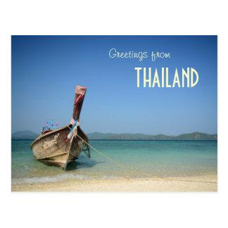 thailand traditionellt långt transportfartyg vykort