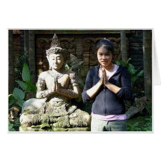Thailändska Wai Hälsningskort