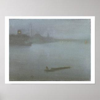 Thames - Nocturne i blått och silver, c.1872/8 (oi Poster