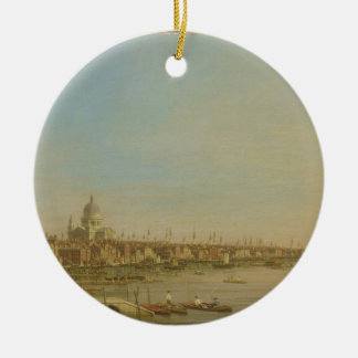 Thamesen från terrassen av den Somerset huslooken Julgransprydnad Keramik