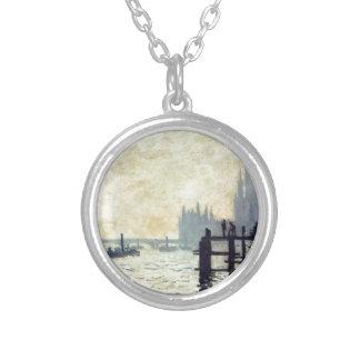 Thamesen nedanföra Westminster vid Claude Monet Silverpläterat Halsband
