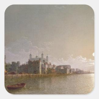 Thamesen vid månsken med traitorss grind fyrkantigt klistermärke