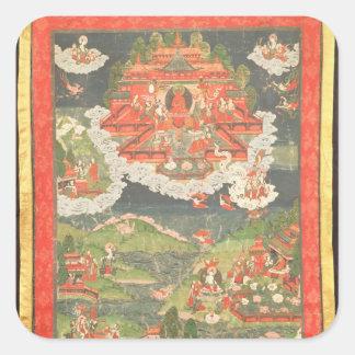 Thangka av paradiset av Amitabha Fyrkantigt Klistermärke