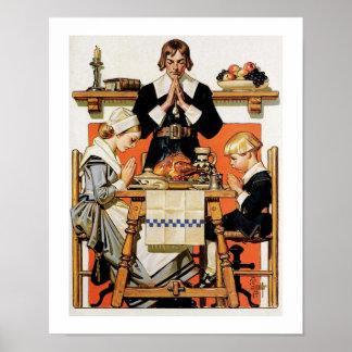 """Thanksgiving 1648"". Vintagekonstaffisch Poster"