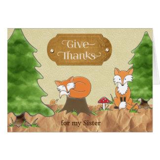 Thanksgiving för rävar för systerScrapbook-look Hälsningskort