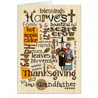 Thanksgiving Wordcloud - farfar Hälsningskort